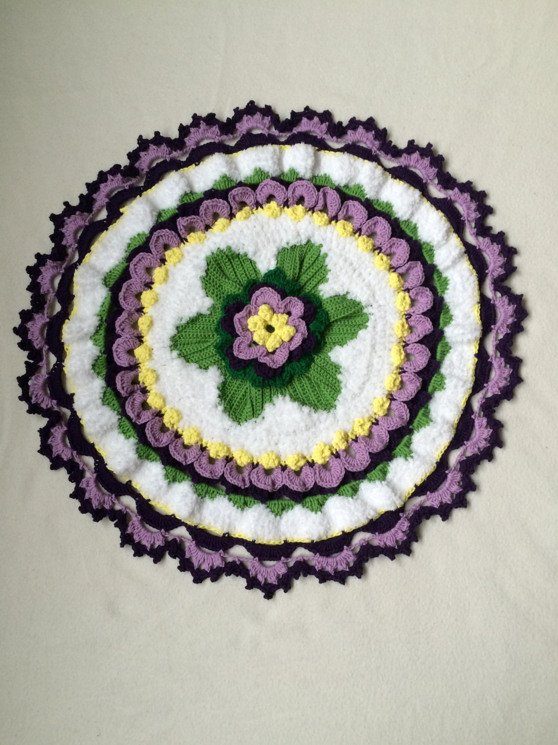 Crochet  tabletop centerpiece with flowers