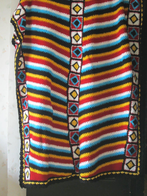 Navajo afghan Stripes Crochet Blanket