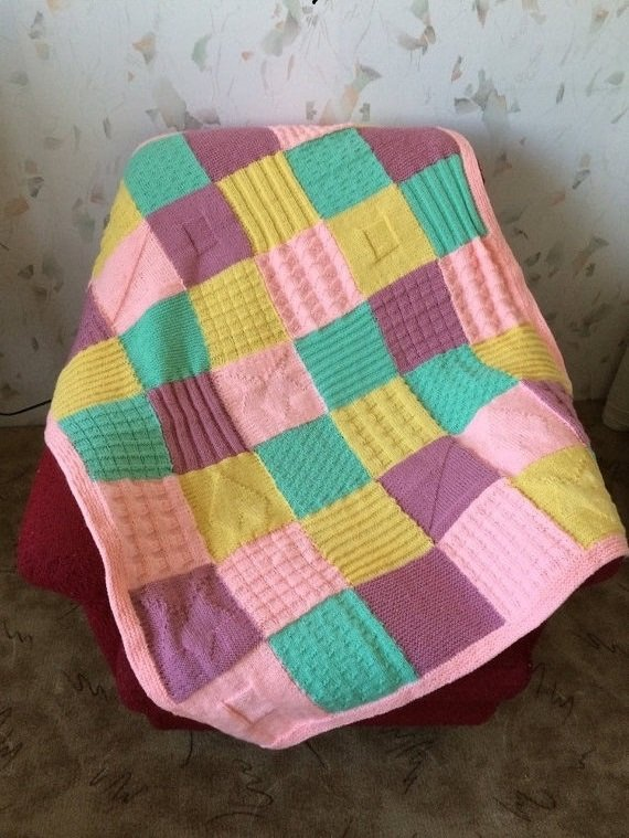 Knitted Squares Afghan