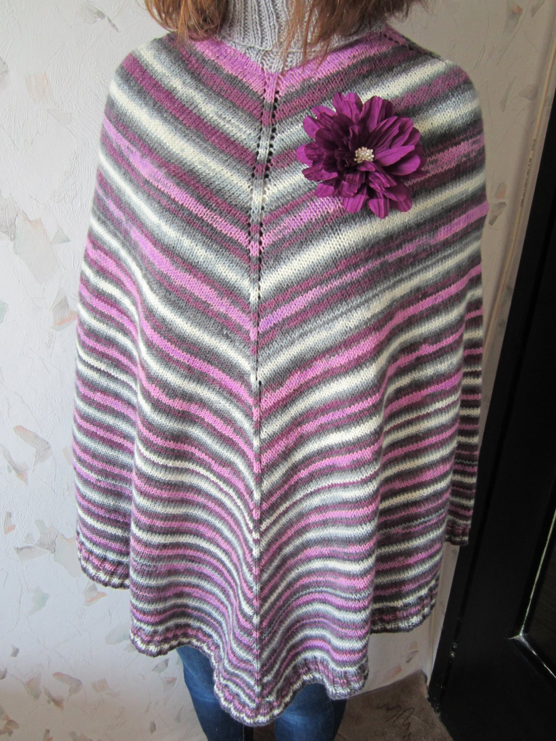Women's knitted poncho Multicolor striped poncho