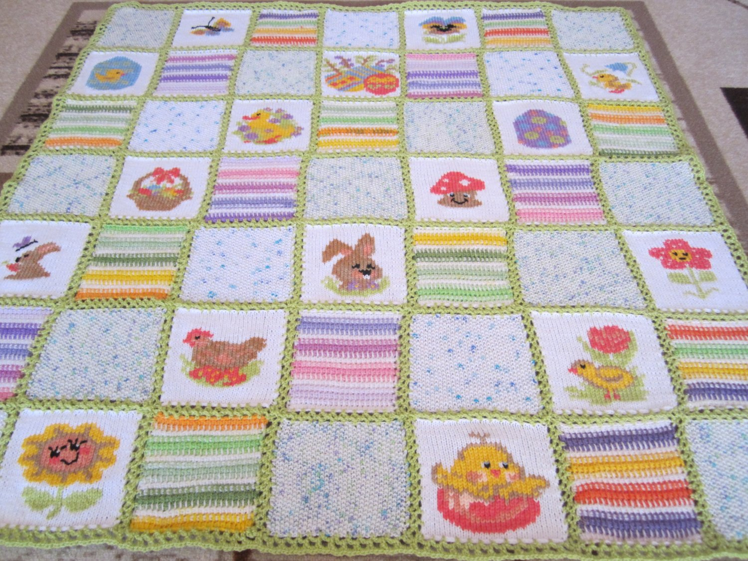 Hand knitted afghan Patchwork baby blanket