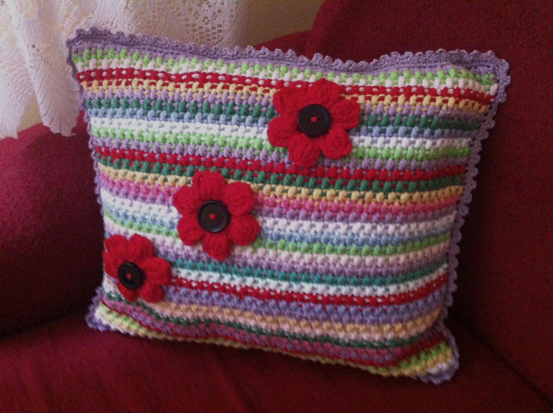 Crochet Striped Pillow Multicolor Handmade Cushion