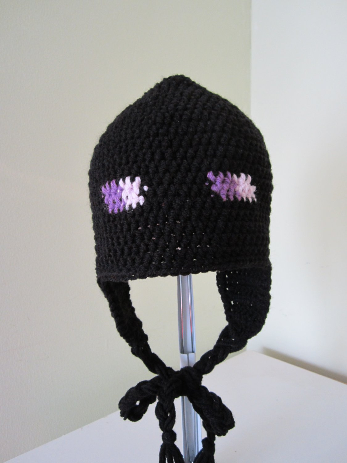 Crochet enderman earflap hat