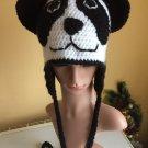 Crochet earflap panda hat