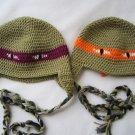 Crochet earflap ninja turtle hat