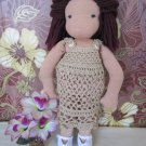 Crochet dress for 16 inches Waldorf doll brown color