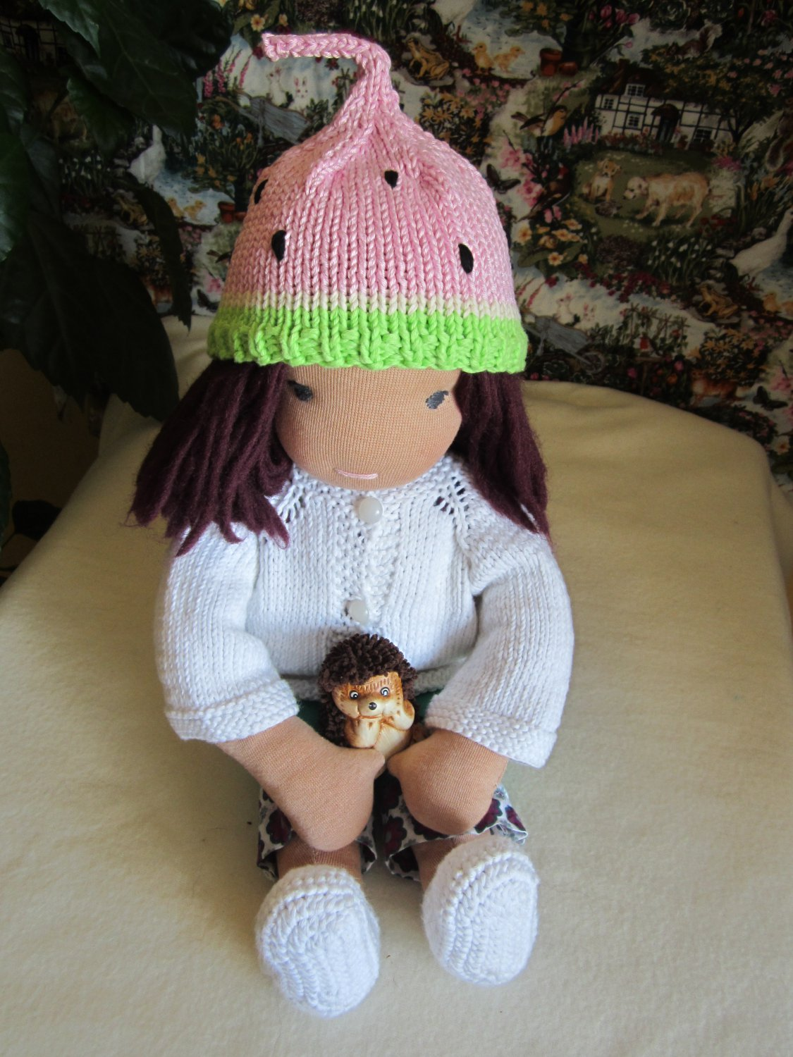 Crochet watermelon hat for 16 inches  Waldorf doll and American girl doll