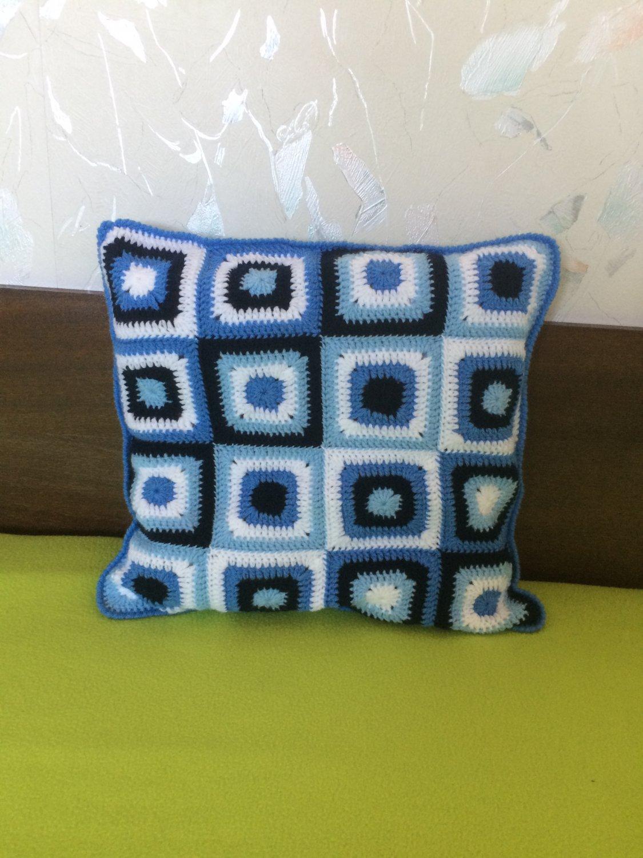Crochet granny square pillow
