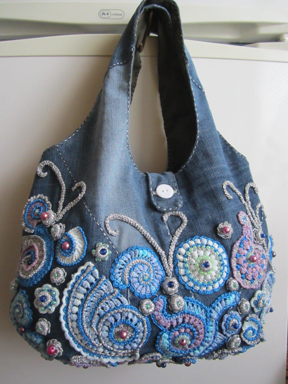 Irish crochet jeans bag