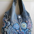 Irish crochet jeans bag