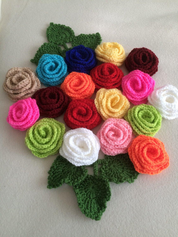Set of 5 crochet roses