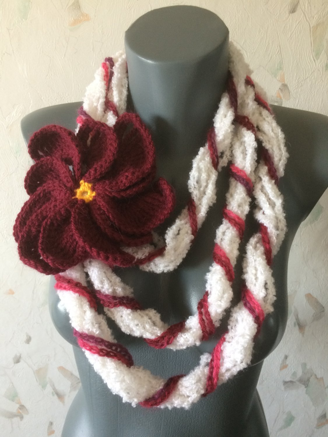 Free form crochet scarf with huge flower