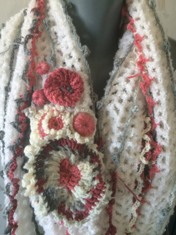 Free form crochet scarf