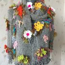Knitted scarf ...Free form shawl...Colorful wrap