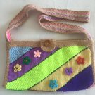 Knitted art purse...Free form bag....Cross body pouch