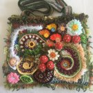 Free Form Art Pouch... 3D Irish Crochet Bag...Mushroom Bag