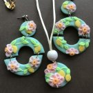 Floral polymer clay earrings and necklace