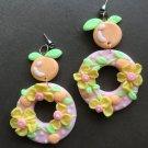Orange polymer clay earrings