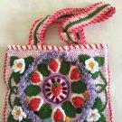 Free Form Art Pouch... 3D Irish Crochet Bag...Strawberry bag