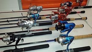 LOT OF 20 REELS & RODS COMBOS SETS CASTING & SPININNG SHAKESPEARE & ZEBCO