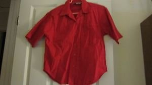 Girls Ladies Top Blouse Red Small Short Sleeve Starry Nite Cotton Shoulder Pad