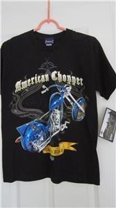 American Chopper Discovery Channel Boys T Shirt Top NWT Black Blue M Short Sleev