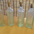 "Small Clear Designed Glass Bottles Set of 4 with Cork Toppers 4 1/2"" Tall"