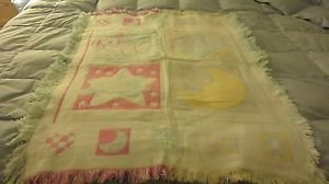 "Baby Crib Blanket 47""  X  35"" REVERSIBLE BUNNY, TEDDY BEAR, LAMB, MOON"