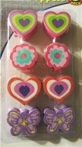 Erasers Pencil Toppers New Pack of 8 Flowers Butterflies Hearts Valentines Day
