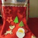 "Christmas Holiday Stocking Red Felt 12"" Long Decorated"