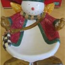 Debbie Mumm Oneida Sakura Snowman Snow Angel Village Nibbler Serving Bowl NIB