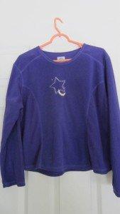 Girls Pajama Top Charles Good Night Size Small Purple 100% Polyester Star Moon
