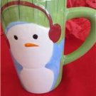 Large Christmas Holiday Winter Mug Cup Snowman Green 5 1/2""