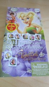 Disney Tinkerbelll and Fairies 34 Valentines with 35 Glitter Tattoos New