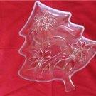"Christmas Holiday Glass Tree Shaped Dish Poinsettias Bows Bells 13.5"" x 12"""