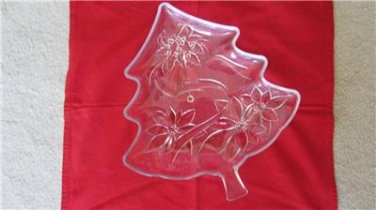 "Christmas Holiday Glass Tree Shaped Dish Poinsettias Bows Bells 13.5"" x 12"""
