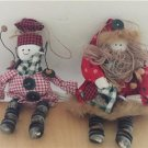 Christmas Holiday Vintage Decorations Tree Ornaments Buttons People Set of 2