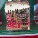 "Christmas Holiday Tree Ornament Joy Brite # 74E9800 Gold House Tree 2"" Tall NIB"