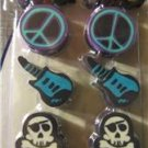 Erasers Pencil Toppers New Pack of 8 Guitars Skull & Cross Bones Peace Sign Cars