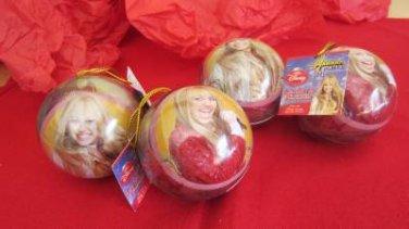 Hannah Montana Christmas Bulbs Tin Ornaments Set of 4 Disney Collectible Candy