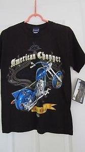 American Chopper Discovery Channel Boys T Shirt NWT Black Blue M Short Sleeve