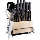22 Pieces Stainless Steel Cutlery and Tool Set Kitchen Wood & Metal Basket NIB