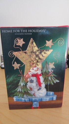 "Stocking Holder Christmas Holiday Hanger Woodland Snowman Stars 10"" Tall NIB"