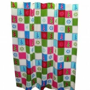 L G Christmas Patchwork Trees Snowflake Fabric Shower Curtain & Hook Holiday Set