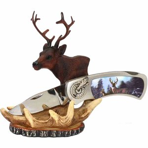 "7"" 3D Deer Folding Knife w/ Stand"