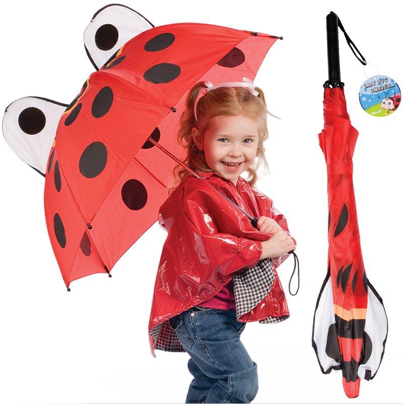 Ladybug Kids Umbrella 28 inch diameter Wild Red Lady Bug for Children