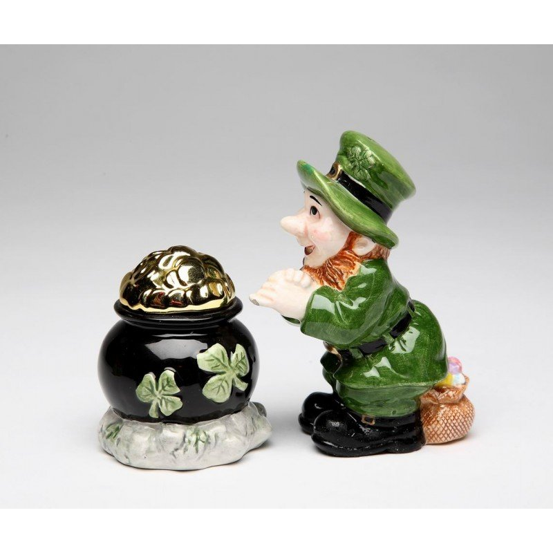 green leprechaun and black pot of gold tone salt and pepper