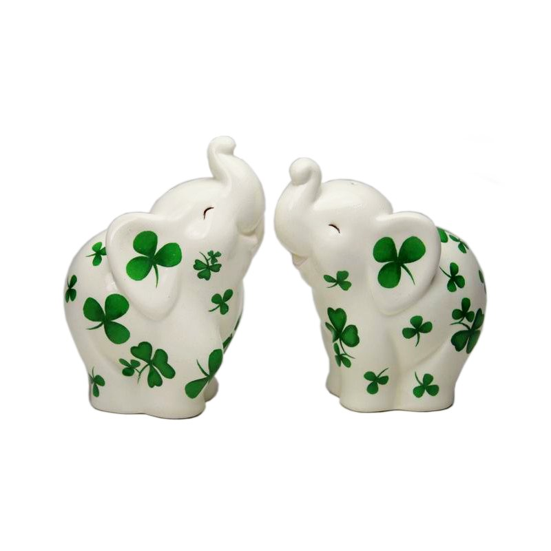 Elephants with Shamrocks Salt and Pepper Shaker Set