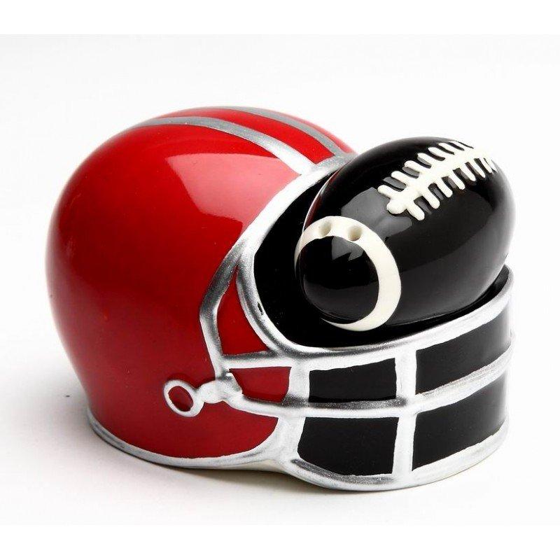 Small Black Football in Red Helmet Salt and Pepper Shakers
