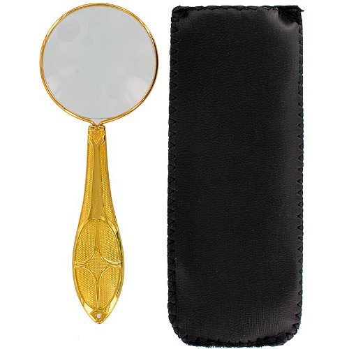 5x Metal Hand Held Magnifier : Gold Color, Leatherette Pouch Included